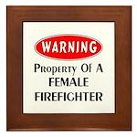 Female Firefighter Property Framed Tile