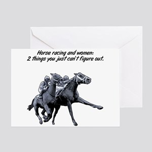 Horse racing and women. Greeting Card