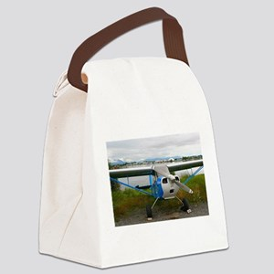High wing aircraft, blue & wh Canvas Lunch Bag