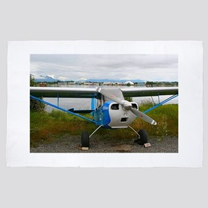 High wing aircraft, blue & white, 4' x 6' Rug