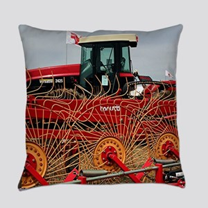 Red hay rake and tractor Everyday Pillow