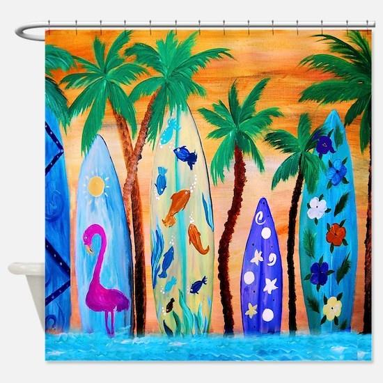 Surfboards Bedding Shower Curtain