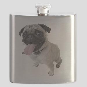 Pug Close Up Photo Flask