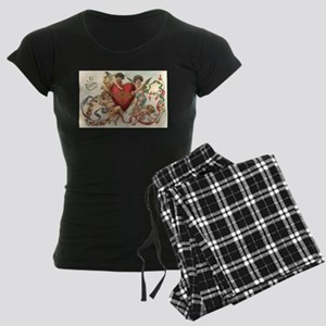 Vintage Valentine's Day Women's Dark Pajamas