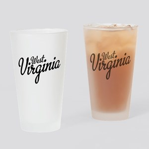 West Virginia Script Black Drinking Glass