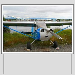 High wing aircraft, blue & white, Al Yard Sign