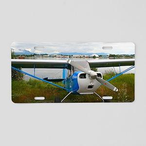 High wing aircraft, blue &a Aluminum License Plate