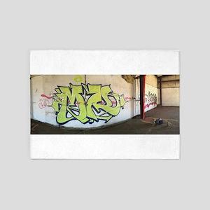 Green Graffiti 5'x7'Area Rug