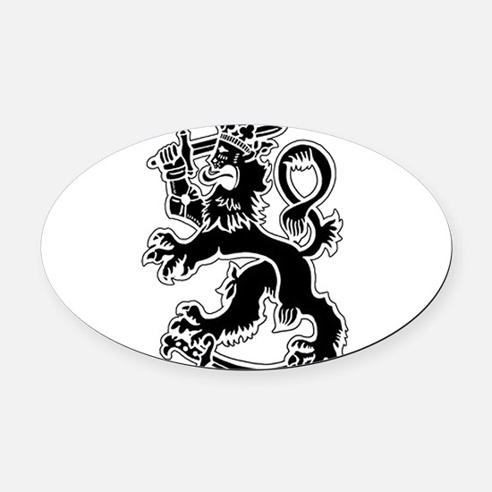 SuomiLeijona.png Oval Car Magnet