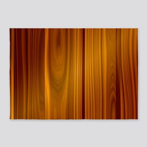 SHINY STRIATED WOOD PANEL 5'x7'Area Rug