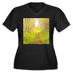 Aspen Trail Deer Women's Plus Size V-Neck Dark T-S