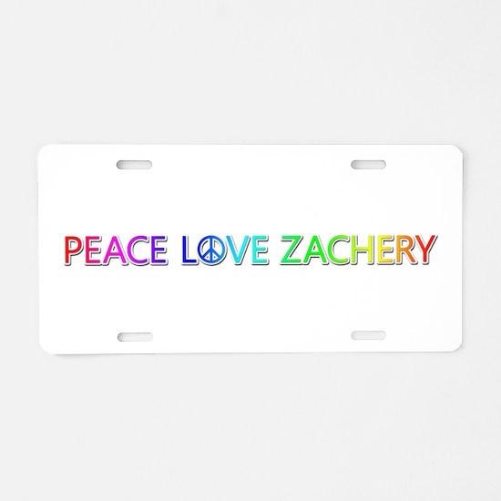 Peace Love Zachery Aluminum License Plate