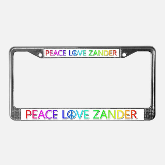Peace Love Zander License Plate Frame
