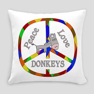 Peace Love Donkeys Everyday Pillow