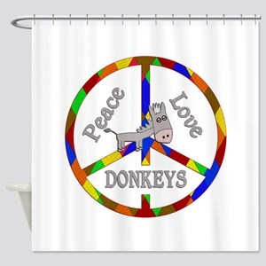Peace Love Donkeys Shower Curtain
