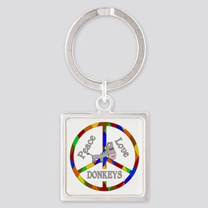 Peace Love Donkeys Square Keychain