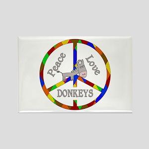 Peace Love Donkeys Rectangle Magnet