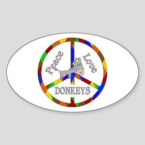 Peace Love Donkeys Sticker (Oval)
