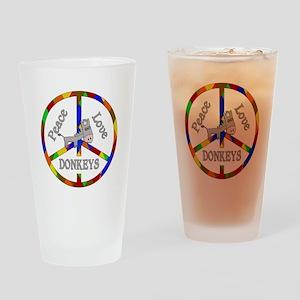 Peace Love Donkeys Drinking Glass