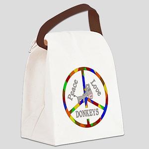 Peace Love Donkeys Canvas Lunch Bag