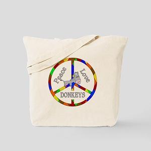 Peace Love Donkeys Tote Bag