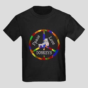 Peace Love Donkeys Kids Dark T-Shirt
