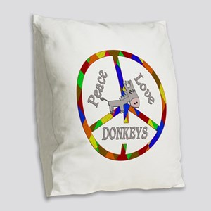 Peace Love Donkeys Burlap Throw Pillow