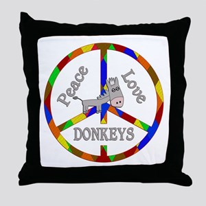 Peace Love Donkeys Throw Pillow