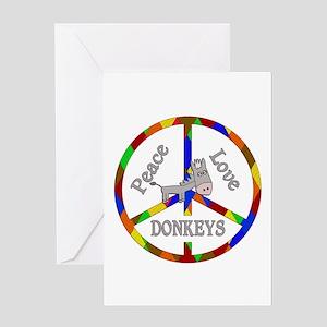 Peace Love Donkeys Greeting Card