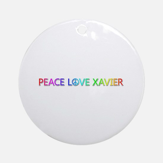 Peace Love Xavier Round Ornament