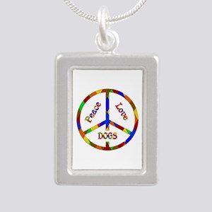 Peace Love Dogs Silver Portrait Necklace