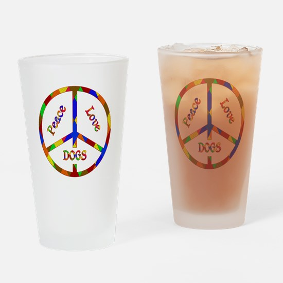 Peace Love Dogs Drinking Glass