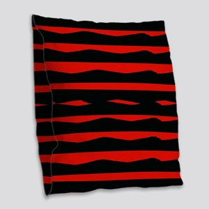 Black And Red Funky Stripes Burlap Throw Pillow