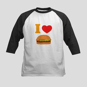 I Love Cheeseburgers Kids Baseball Jersey