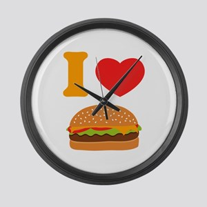 I Love Cheeseburgers Large Wall Clock