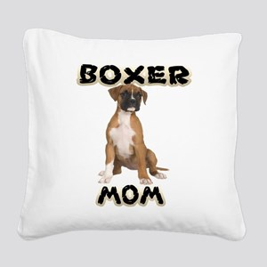 Boxer Mom Square Canvas Pillow