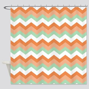 Soft Green And Peachy C Zigzags Shower Curtain