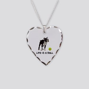 Boston Terrier Life Necklace Heart Charm