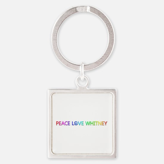 Peace Love Whitney Square Keychain
