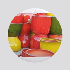 group of colorful pots Round Ornament