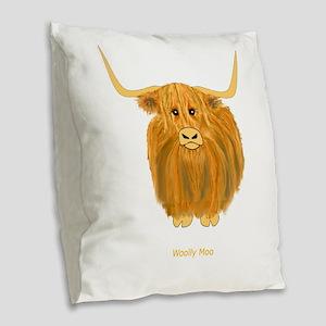 Woolly Moo Burlap Throw Pillow