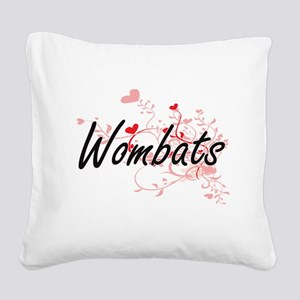 Wombats Heart Design Square Canvas Pillow