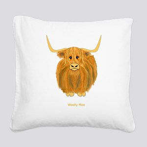 Woolly Moo Square Canvas Pillow