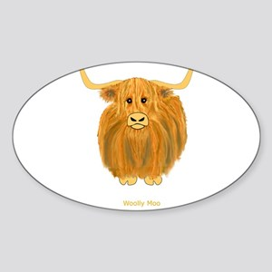 Woolly Moo Sticker (Oval)