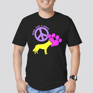 P, L, HUSKYS Men's Fitted T-Shirt (dark)