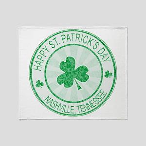 Nashville Happy St Patrick's Day Throw Blanket