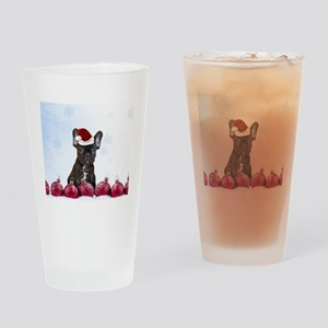Christmas French Bulldog Drinking Glass