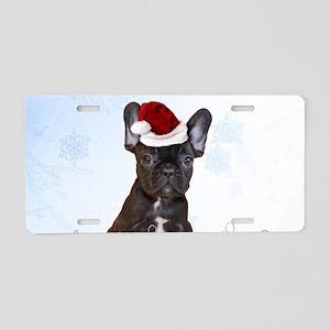 Christmas French Bulldog Aluminum License Plate