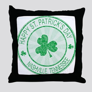 Nashville Happy St Patrick's Day Throw Pillow