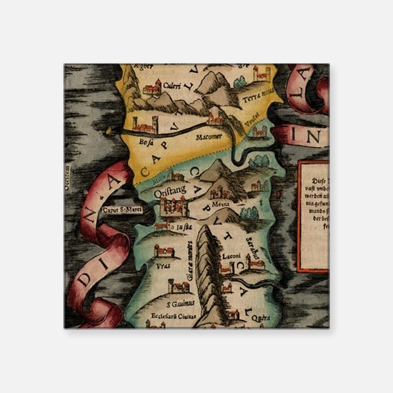 Vintage Map of Sardinia Italy (16th Centur Sticker